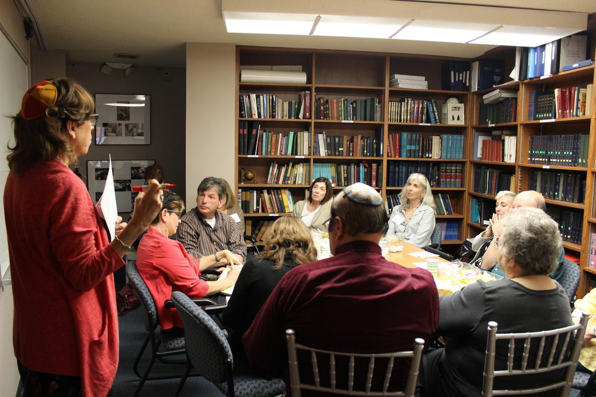 """Rabbi Laura Geller addresses a room of participants at Temple Emanuel's conference, """"The Next Stage: Looking Backwards and Ahead,"""" on November 9, 2014."""