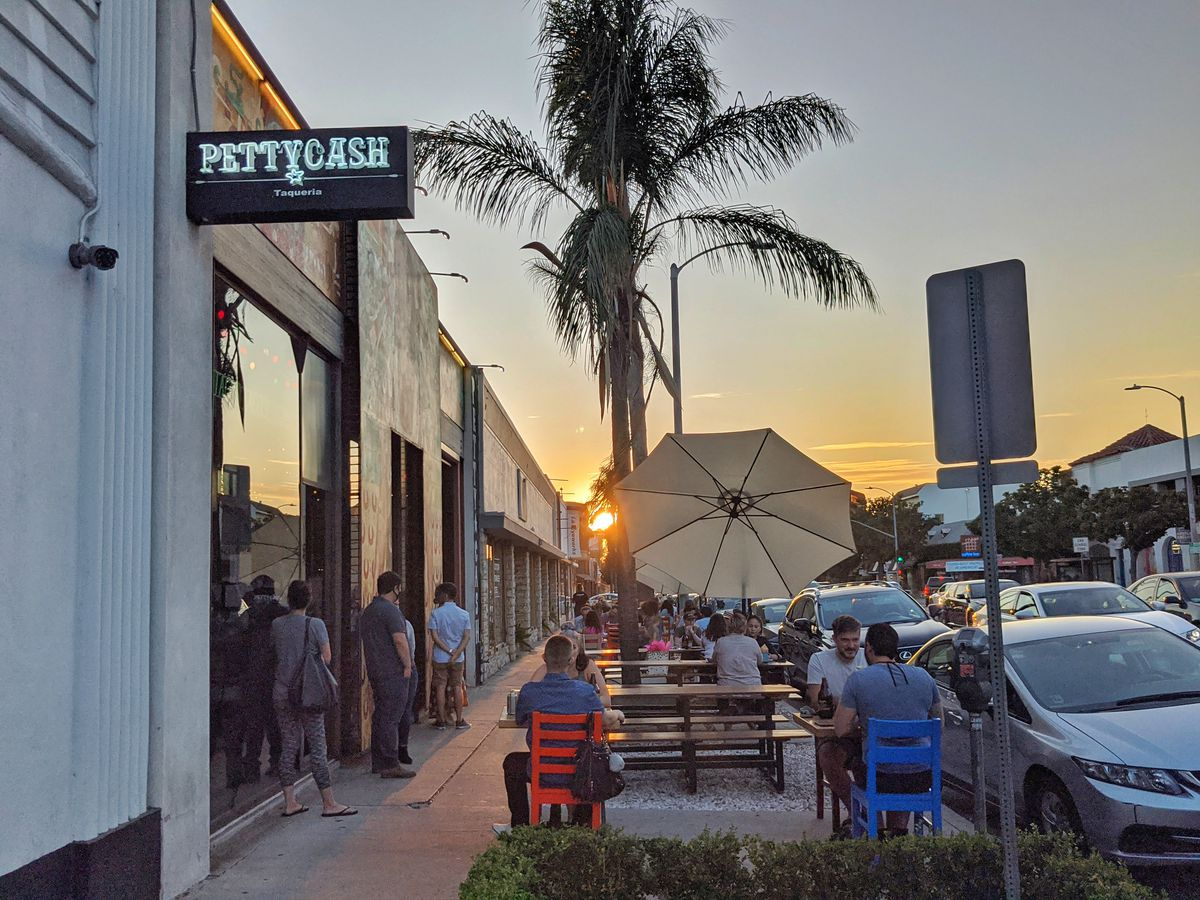 Tables outside of Petty Cash Taqueria & Bar.