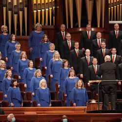 Members of the Tabernacle Choir at Temple Square sing during the 191st General Conference of The Church of Jesus Christ of Latter-day Saints at the Conference Center in Salt Lake City on Saturday, Oct. 2, 2021.