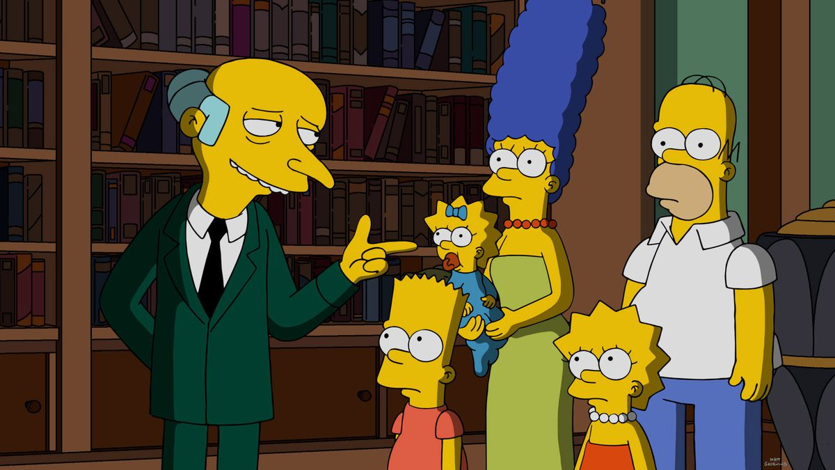 The Simpsons hang out with Mr. Brns.