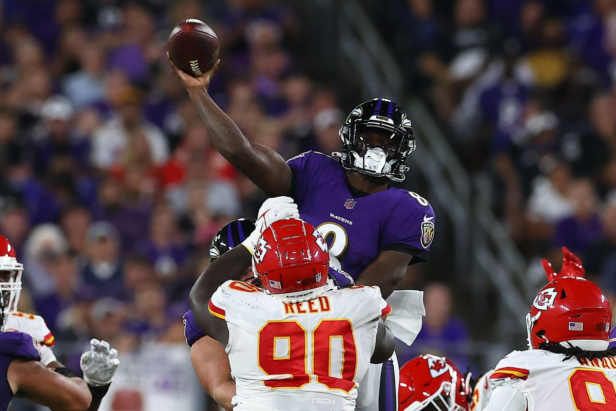 Lamar Jackson #8 of the Baltimore Ravens throws a touchdown pass to Marquise Brown #5 (not pictured) during the third quarter against the Kansas City Chiefs at M&T Bank Stadium on September 19, 2021 in Baltimore, Maryland.
