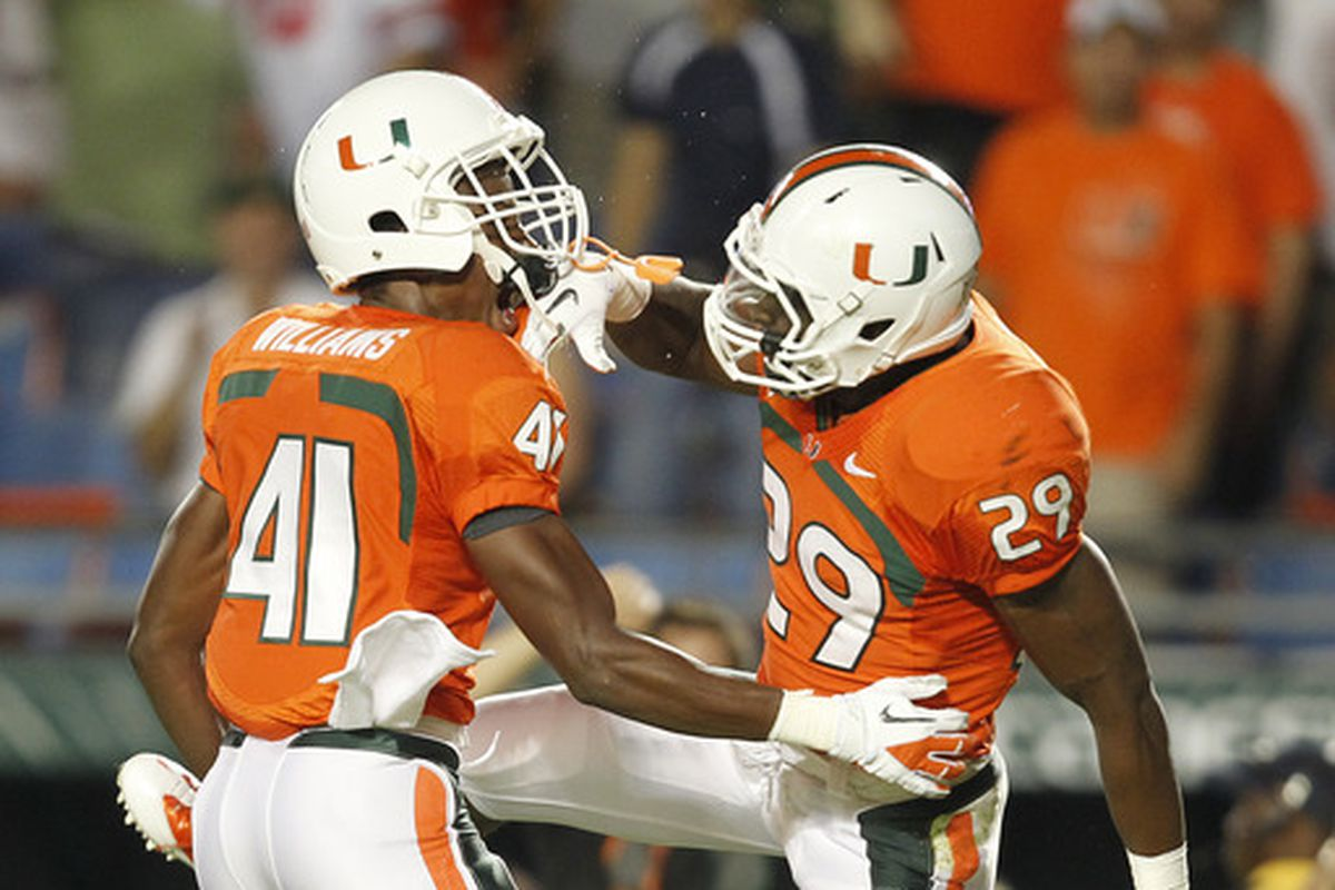 Niloas with teammate Mike Williams during his days at UM
