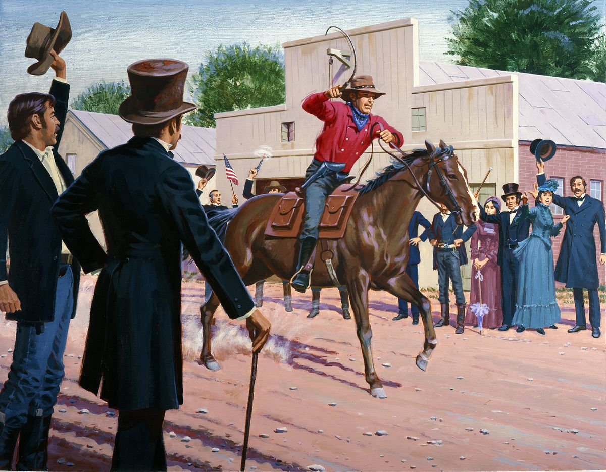 An illustration of the first Pony Express rider's departure. (Ed Vebell/Getty Images)