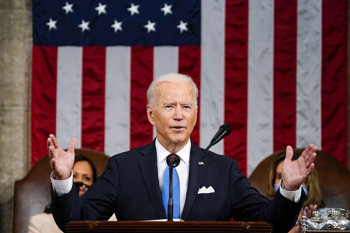 President Joe Biden addresses a joint session of Congress in the House Chamber at the U.S. Capitol in Washington, D.C.