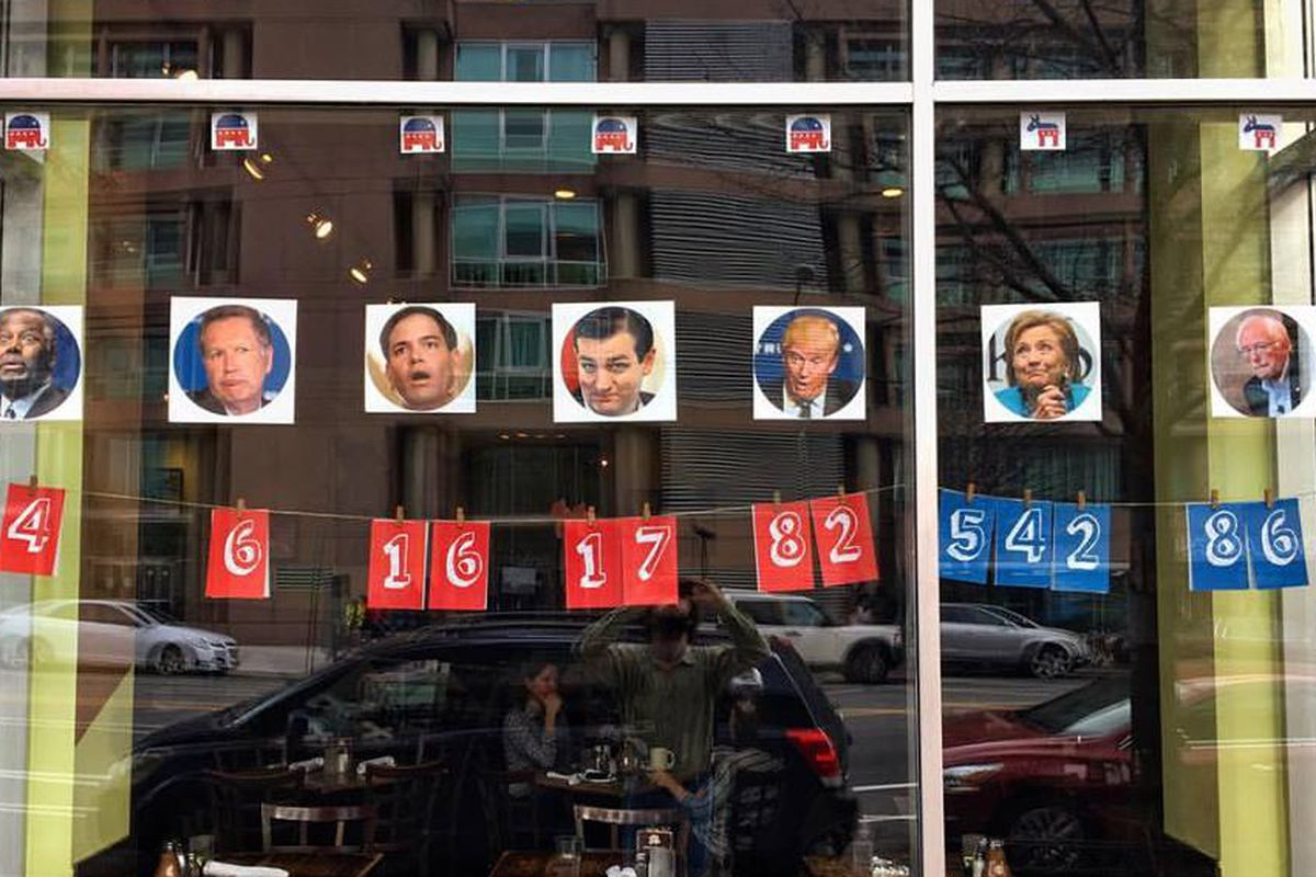 Primary tallies in a Busboys window