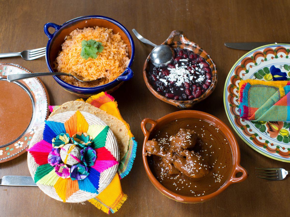 Spread of dishes at El Buen Comer