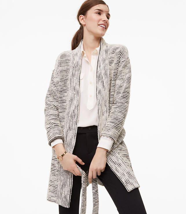 Textured Belted Cardigan