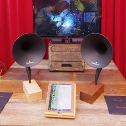 You're looking at the world's first bluetooth gramophone by Gramavox ($349.99), in your choice of walnut or maple wood.