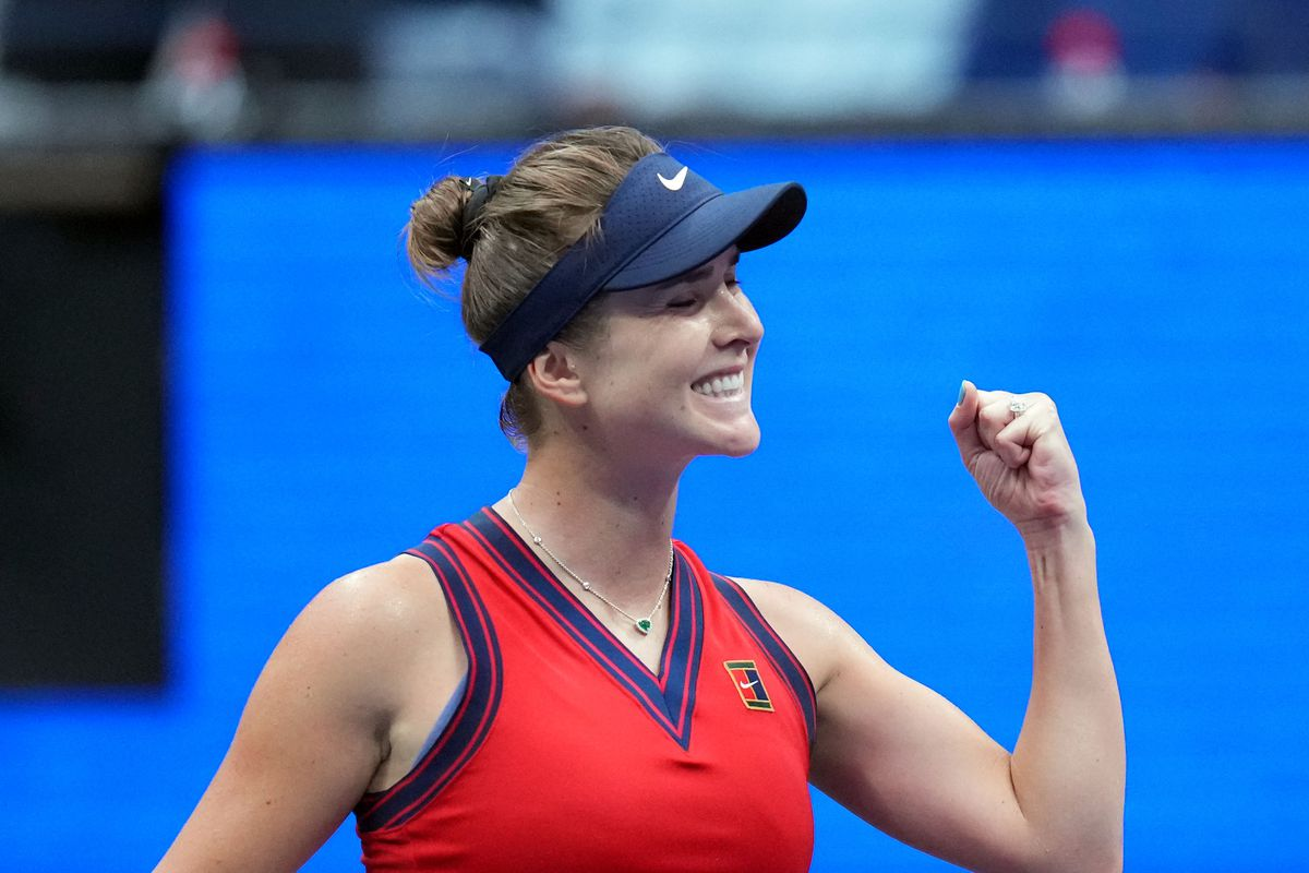 Elina Svitolina of Ukraine defeats Simona Halep (not pictured) of Romania on day seven of the 2021 U.S. Open tennis tournament at USTA Billie Jean King National Tennis Center.