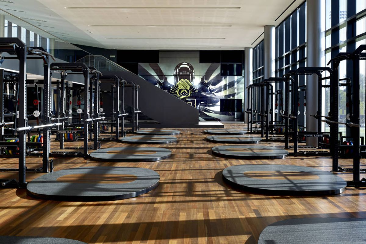 The new weight room in the Football Operations Center