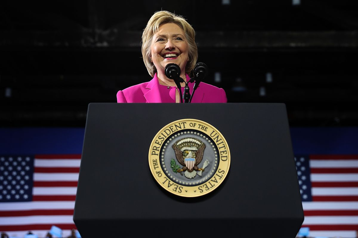 Democratic presidential candidate Hillary Clinton speaks during a campaign rally with US President Barack Obama on July 5, 2016, in Charlotte, North Carolina.