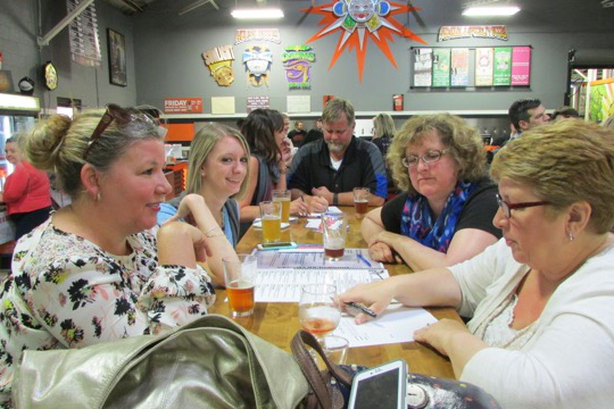 The team from IPS School 79 got the most right answers Moday at Education Trivia Night at Sun King Brewery sponsored by Chalkbeat and WFYI Public Media.