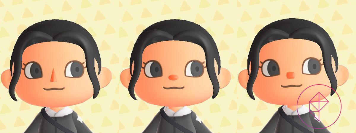 An Animal Crossing villager showing the three noses: triangle, oval, and square