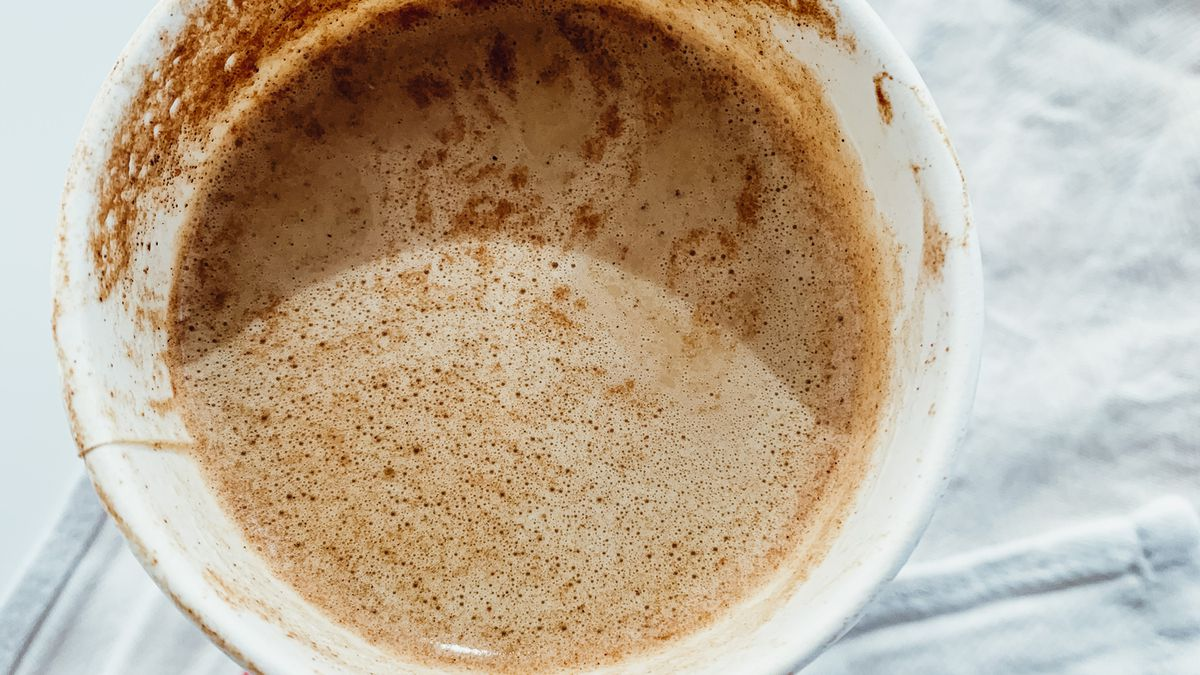 An overhead picture of a cup of chai