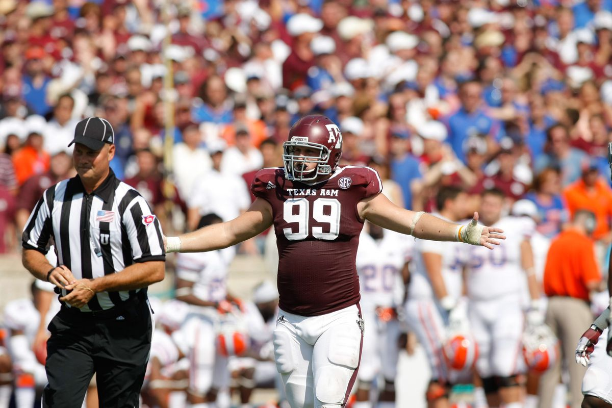 Sep 8, 2012; College Station, TX, USA; Texas A&M Aggies defensive lineman Spencer Nealy (99) complains to a referee against the Florida Gators in the second quarter at Kyle Field. Mandatory Credit: Brett Davis-US PRESSWIRE