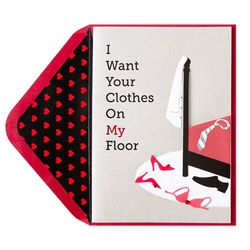 """Clothes On My Floor card, <a href=""""http://www.papyrusonline.com/greeting-cards/valentine-greeting-cards/clothes-on-my-floor.html"""">Papyrus</a>, $7.95. Available at Papyrus, Aventura Mall, 19575 Biscayne Boulevard."""