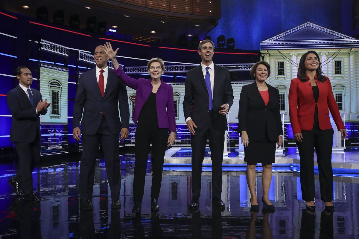 The candidates at the first night of the Democratic debates.