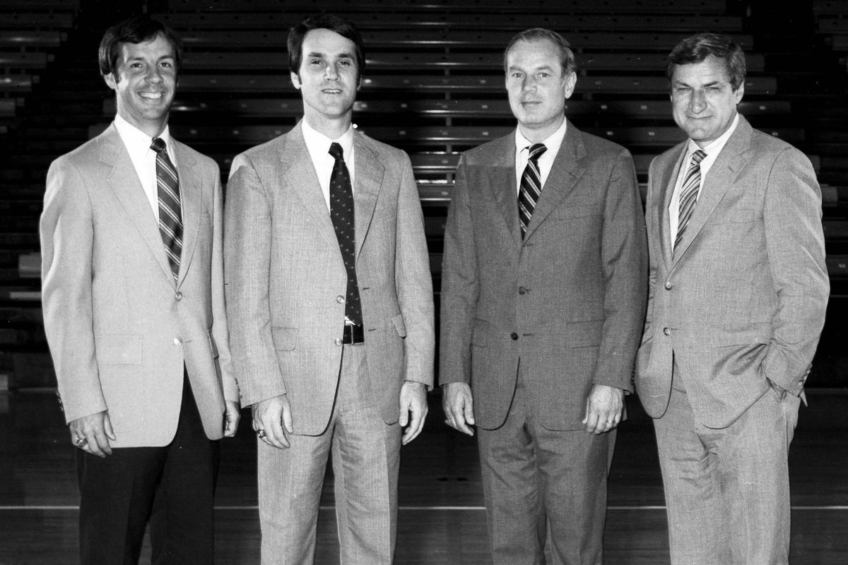 Roy Williams, Eddie Fogler, Bill Guthridge and Dean Smith in 1982.