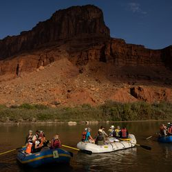 Sen. Mitt Romney, R-Utah, his wife Ann, and others float a section of the Colorado River northeast of Moab on Saturday, Sept. 18, 2021.
