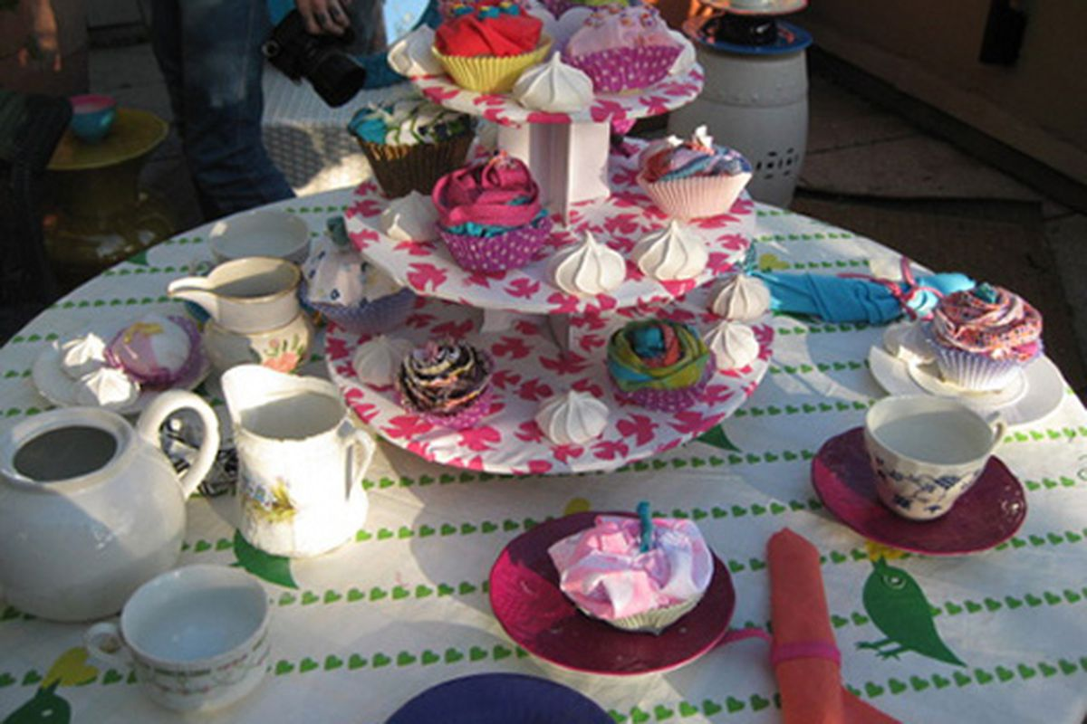 """Roxy entertains their party guests with fabric scrap cupcakes. Image via <a href=""""http://www.luckymag.com/blogs/luckyrightnow/2009/07/decorating-inspiration-from-th.html"""">Lucky</a>"""