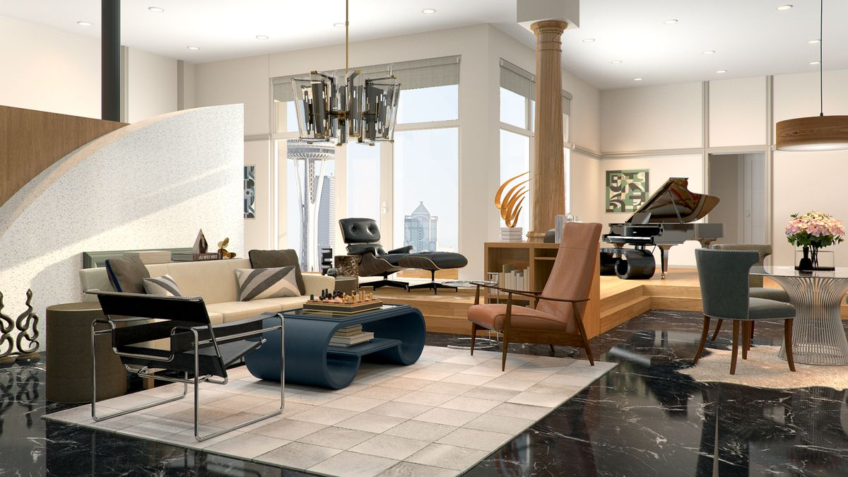 Rendering of an apartment with chairs surrounding a beige rug.