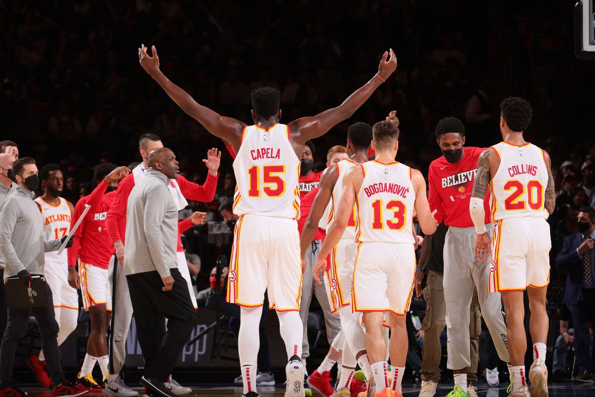 Clint Capela #15 of the Atlanta Hawks celebrates during Round 1, Game 5 of the 2021 NBA Playoffs on June 2, 2021 at Madison Square Garden in New York City, New York.