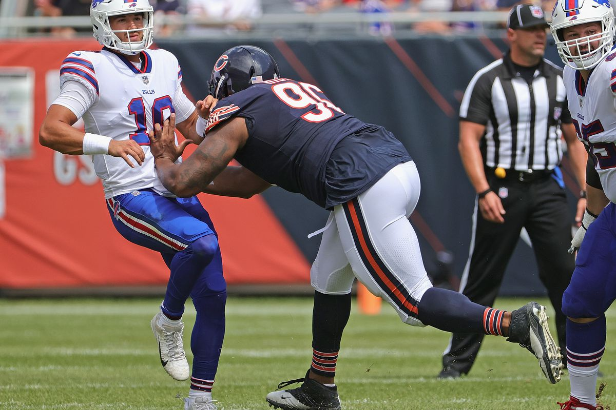 defensive end Akiem Hicks (96, pressuring Bills quarterback Mitch Trubisky in a preseason game) is in his sixth season with the Bears.