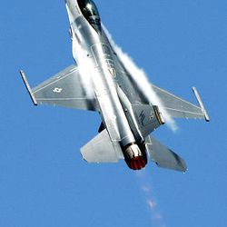 An F-16 performs Saturday at the Hill Air Force Base air show  Saturday.