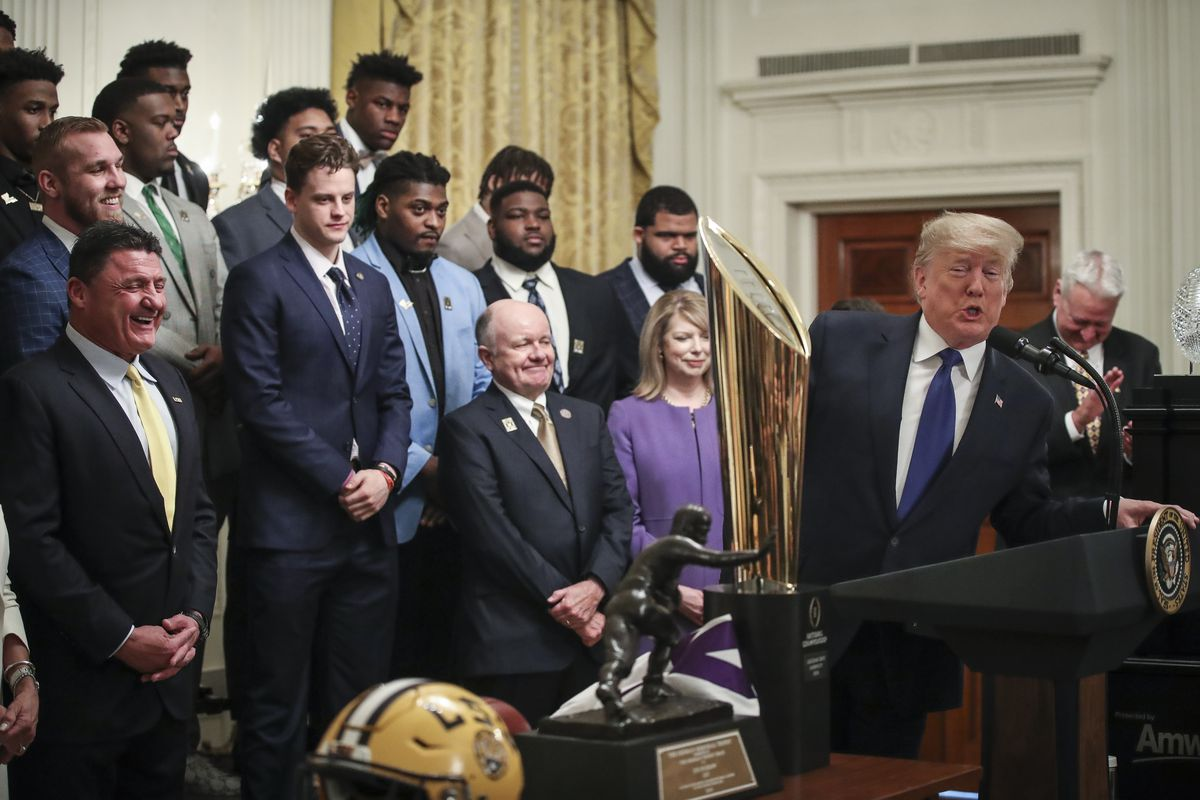 President Trump Welcomes College Football Champions LSU Tigers To The White House