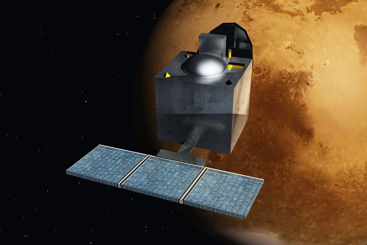 A rendering of the Mars Orbiter Mission, also called Mangalyaan.