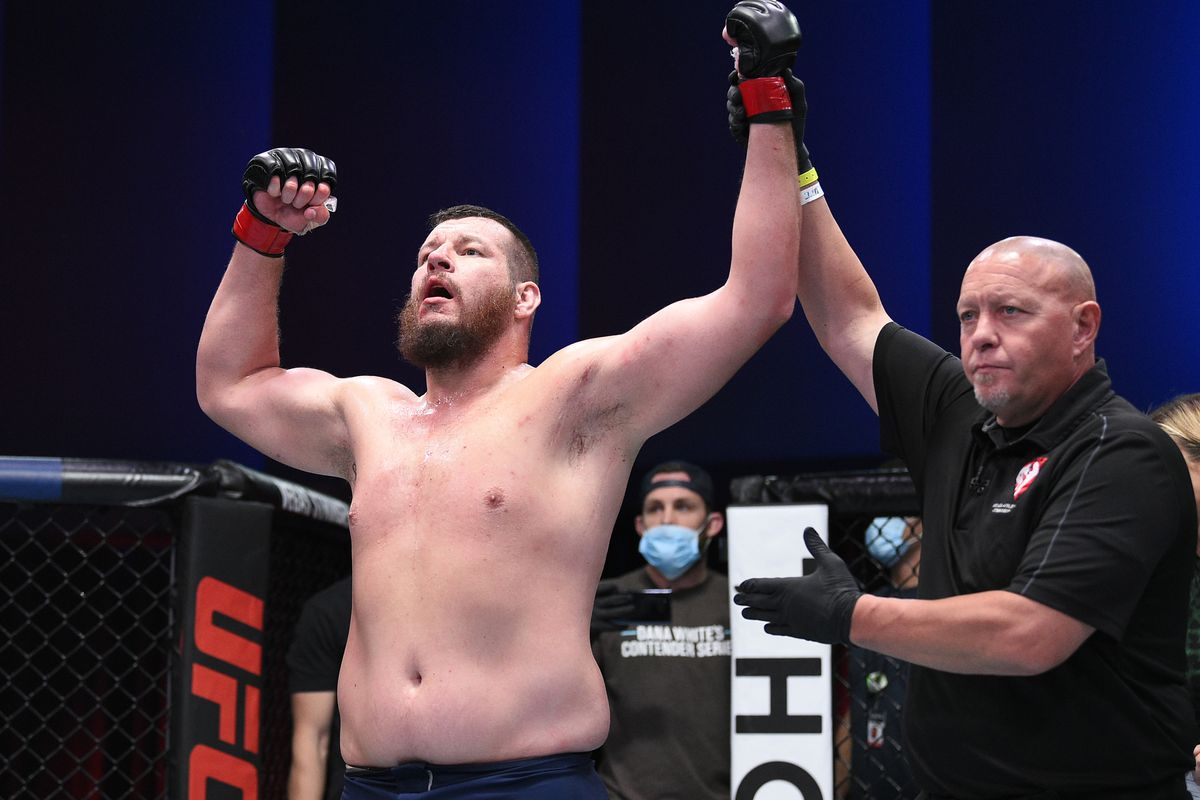 Josh Parisian reacts after his victory over Chad Johnson in a heavyweight bout during week three of Dana White's Contender Series Season 4 at UFC APEX on August 18, 2020 in Las Vegas, Nevada.