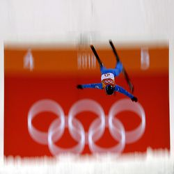 Jonathon Lillis, of the United States, jumps during the men's aerial final at Phoenix Snow Park at the 2018 Winter Olympics in Pyeongchang, South Korea, Sunday, Feb. 18, 2018. (AP Photo/Gregory Bull)