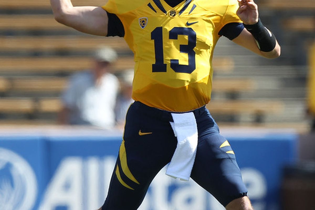 BERKELEY, CA - OCTOBER 09:  Kevin Riley #13 of the California Golden Bears passes against the UCLA Bruins at California Memorial Stadium on October 9, 2010 in Berkeley, California.  (Photo by Jed Jacobsohn/Getty Images)