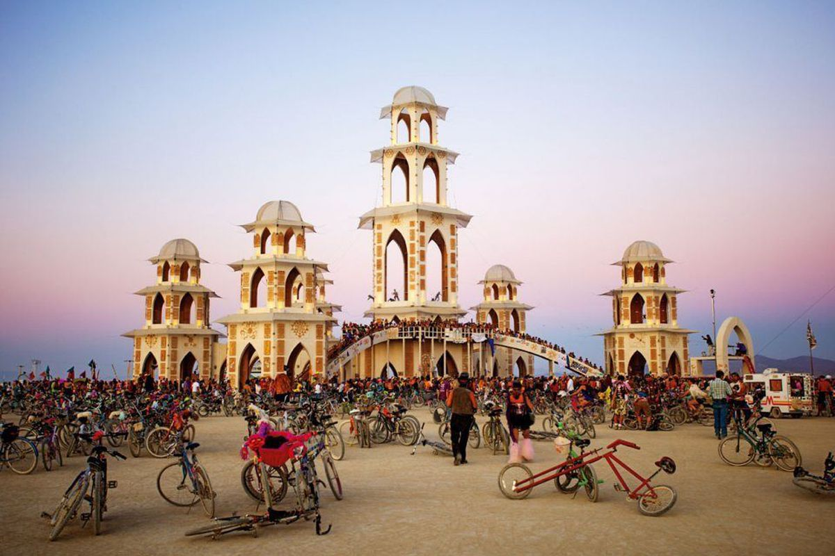 The Temple of Transition, by the International Arts Megacrew, at the Burning Man art festival, 2011. The structure is believed to have been the largest wooden structure, without a foundation, ever built. The Burning Man temples are memorial sites fo
