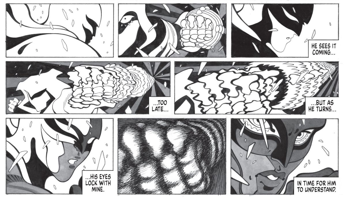 """A ninja of the League of Assassins aims a lightning fast punch at Batman in slow motion. """"He sees it coming,"""" thinks the ninja, as Batman slowly turns, """"too late... but as he turns... his eyes lock with min. In time for him to understand."""" The panels are all white, black, and greyscale, with a hand-made quality to the marker art, in Batman: Black & White #1, DC Comics (2020)."""