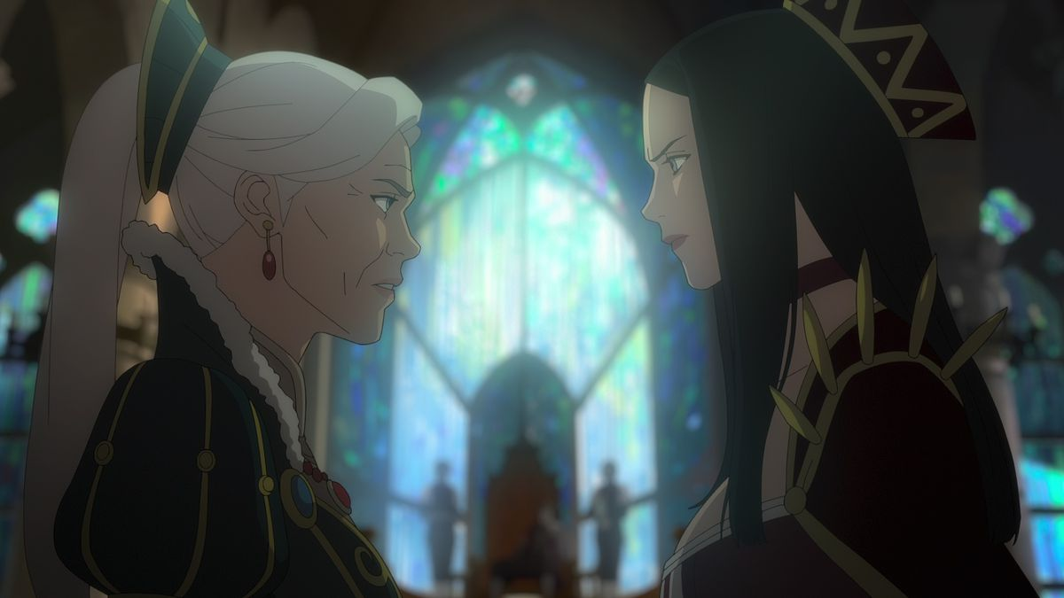 TWo women stand facing each other in a cathedral in The Witcher: Nightmare of the Wolf