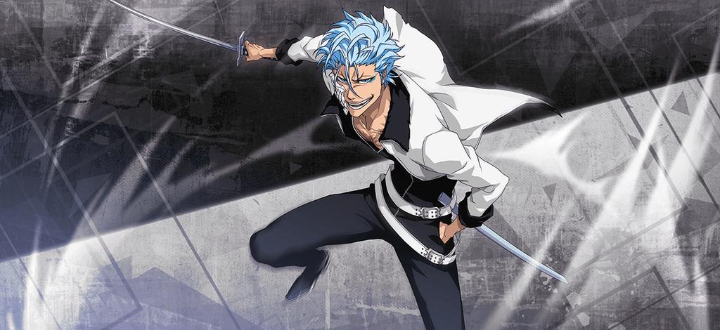 Grimmjow slashes his sword on a grey backdrop