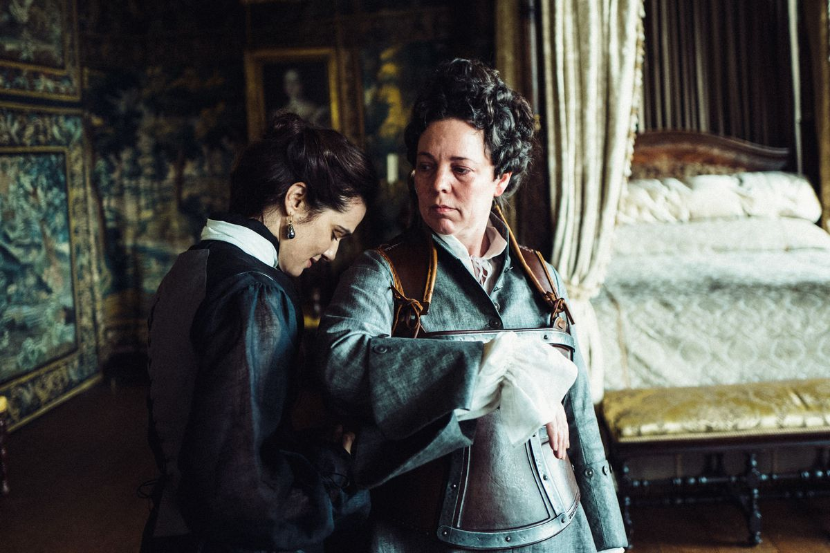 Rachel Weisz as Lady Sarah and Olivia Colman as Queen Anne in The Favourite.