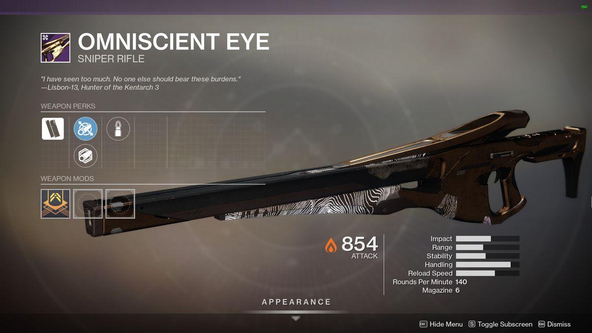 Destiny 2's Omniscient Eye Sniper Rifle