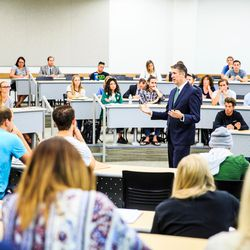 Utah Valley University President Matthew S. Holland speaks to students for the Executive Lecture Series class in the on the UVU campus on Monday Aug. 29, 2016.
