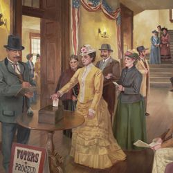 A mural in the Utah Capitol depicts schoolteacher Seraph Young casting the first vote by an American female on Valentine's Day 1870.