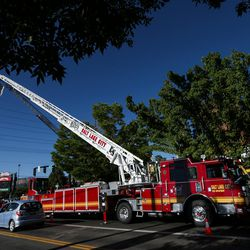 The Salt Lake City Fire Department shows off its two new ladder trucks at Smith's Ballpark in Salt Lake City on Tuesday, June 27, 2017.