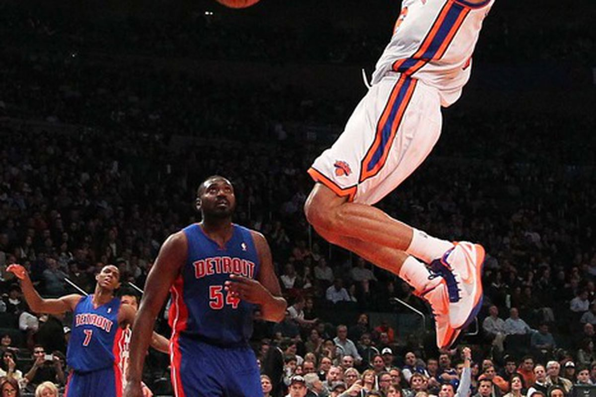 Mar 24, 2012; New York, NY, USA;  New York Knicks center Tyson Chandler (6) up to score during the third quarter against the Detroit Pistons at Madison Square Garden. Knicks won 101-79.  Mandatory Credit: Anthony Gruppuso-US PRESSWIRE
