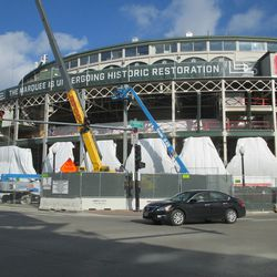 11:49 a.m. A view of the front of the ballpark, from the southwest corner of Addison and Clark -