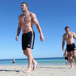 Tom Croft leads the British and Irish Lions swimming session.