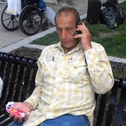 Max Melitzer sits in Pioneer Park in downtown Salt Lake City, on Saturday June 18, 2011. Melitzer's family had hired a private detective to locate him after it was discovered he stands to inherit a large amount of money.
