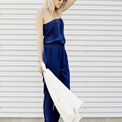 """Jacey of <a href=""""http://damselindior.com""""target=""""_blank"""">Damsel in Dior</a> is wearing a <a href=""""http://www.revolveclothing.com/helena-quinn-strapless-jumpsuit-in-black/dp/HELE-WR1/?AID=10568535&PID=4441350&utm_medium=affiliate&utm_source=cj&utm_conte"""