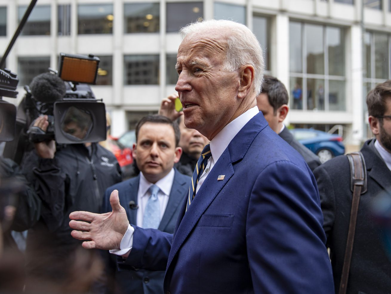 Former Vice President Joe Biden speaks to the media at the International Brotherhood of Electrical Workers Construction and Maintenance conference on April 5, 2019, in Washington, DC.
