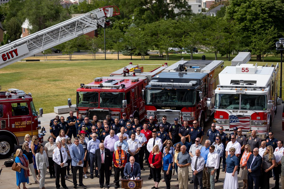 Gov. Spencer Cox, flanked by local elected officials and fire personnel, urges Utahns not to use personal fireworks due to the state's exceptional drought during a press conference at the Capitol in Salt Lake City on Wednesday, June 30, 2021.