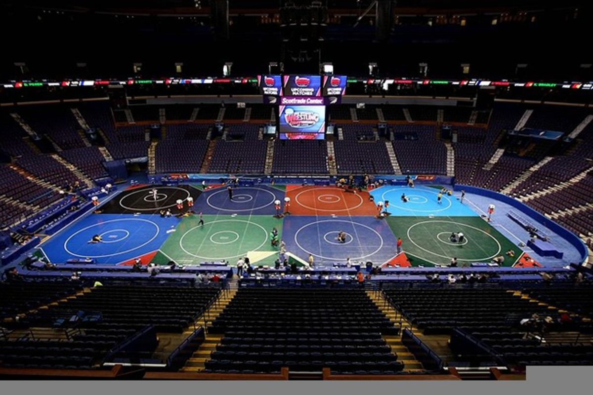 March 14, 2012; St. Louis, MO, USA; A general view of the eight wrestling mats on the arena floor during a practice day prior to the 2012 Division I wrestling championships at the Scottrade Center. Mandatory Credit: Andrew Carpenean-US PRESSWIRE